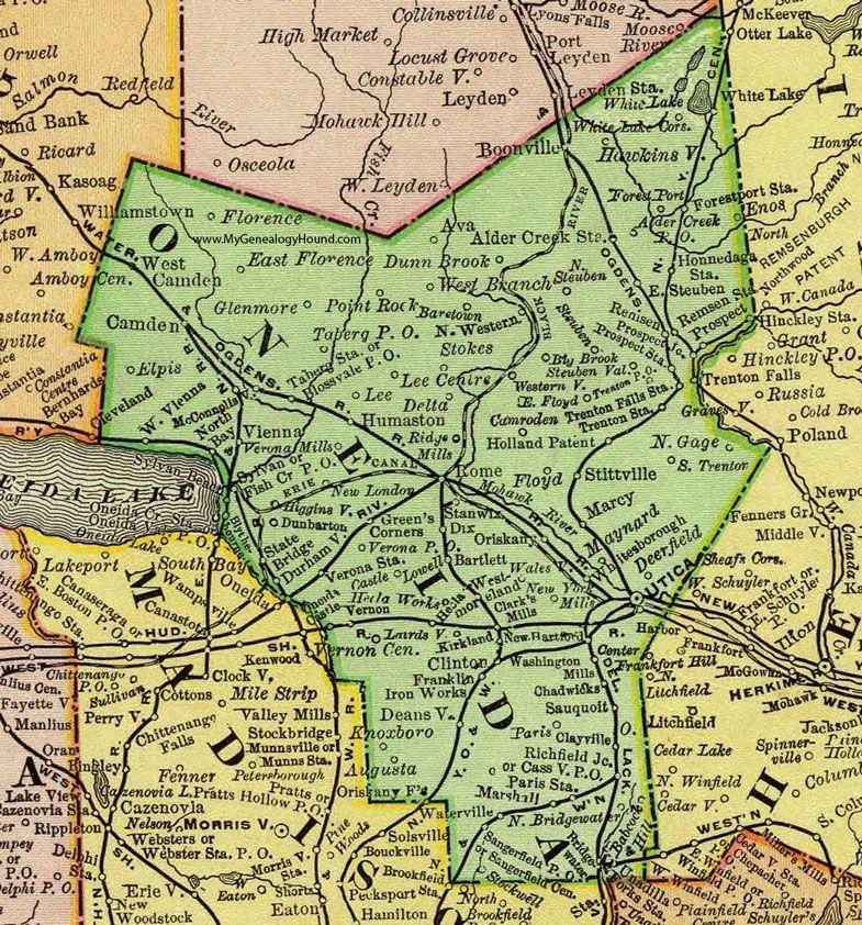 Oneida County, New York, 1897, Map, Rand McNally, Utica