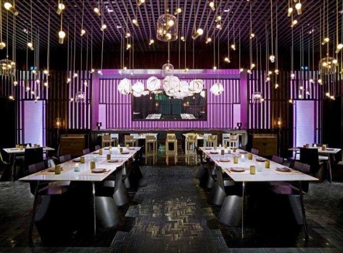modern luxury hotels contemporary restaurants interior lighting restaurant ideasrestaurant interiorsrestaurant interior designcafe - Purple Cafe Ideas