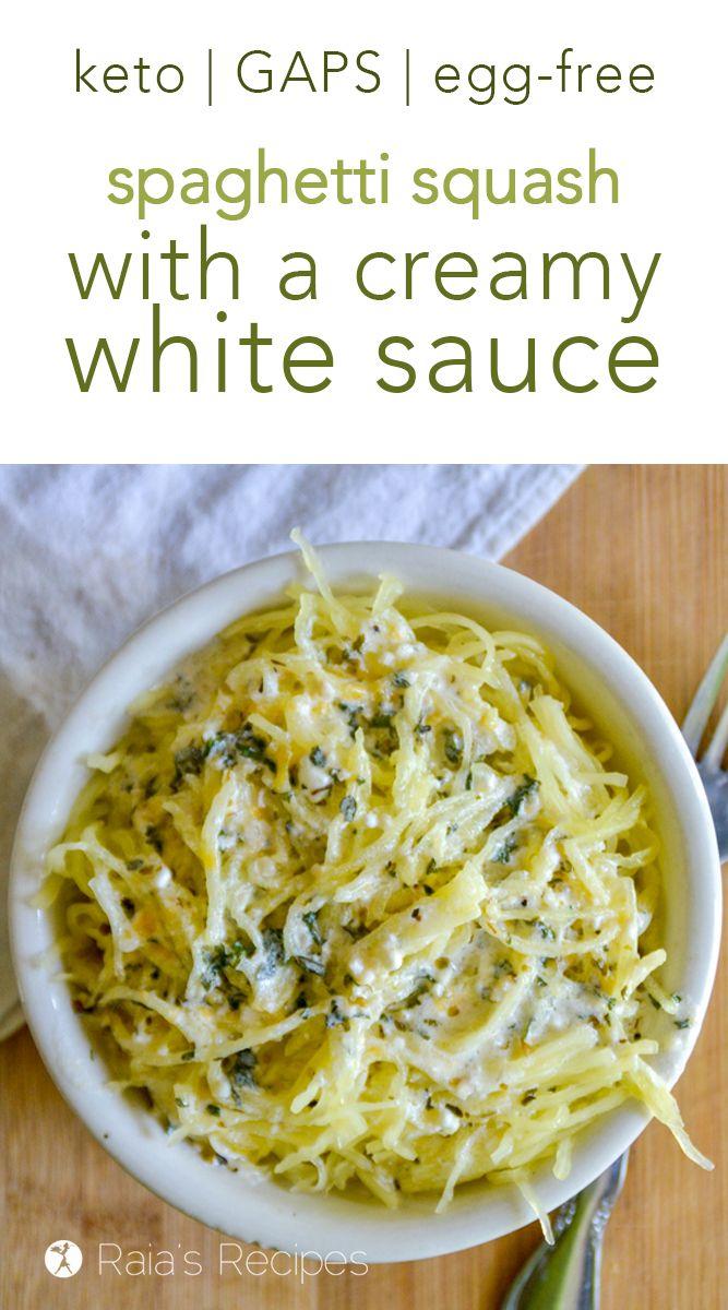 Spaghetti Squash with Creamy White Sauce :: keto, GAPS, egg-free #stuffedspaghettisquash