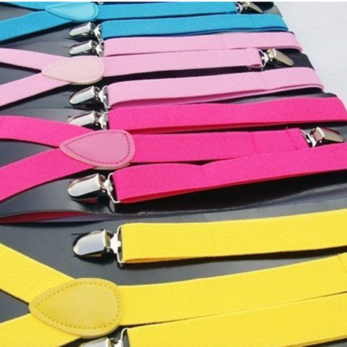 Neon Solid Colour Men Suspender Clip on Y Shape Adjustable Trouser Braces in UK