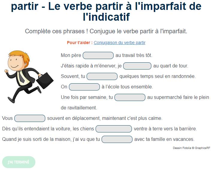 Le verbe partir à l'imparfait de l'indicatif. Exercice de français Cm1 | Exercice de francais ...