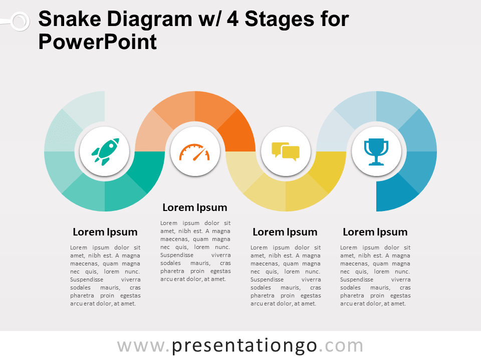 Snake Diagram with 4 Stages for PowerPoint