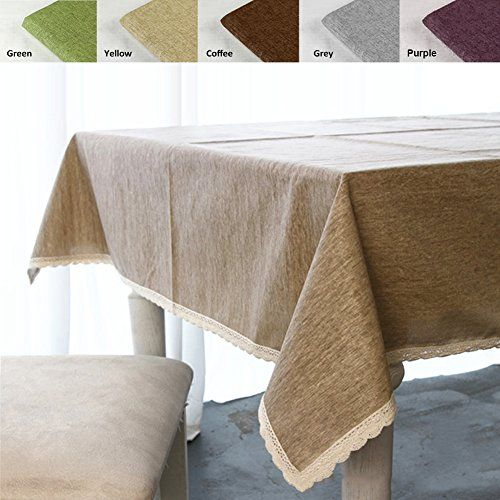 Solid Cotton Linen Tablecloth Waterproof Table Cloth Macrame Lace Table Cover Linen 55 102 Inch Table Top Decor Table Cloth Lace Table