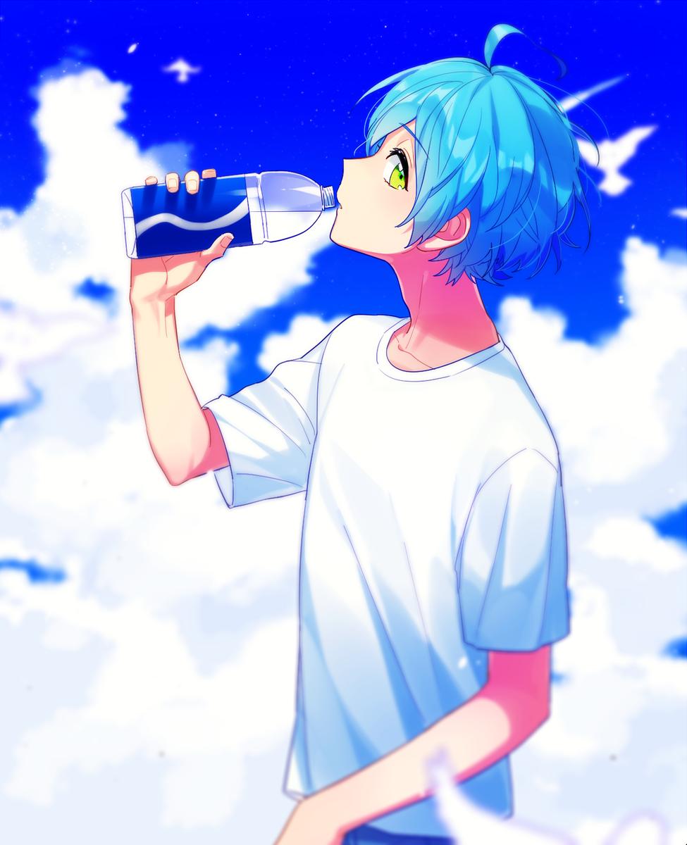 Shinkai Kanata Ensemble Stars Blue Hair Anime Boy Blue Anime Anime Boy