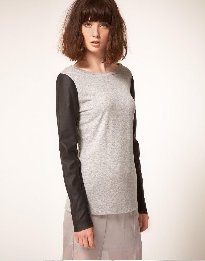 stylestalker Rebel Yell Faux Leather Sleeve Top