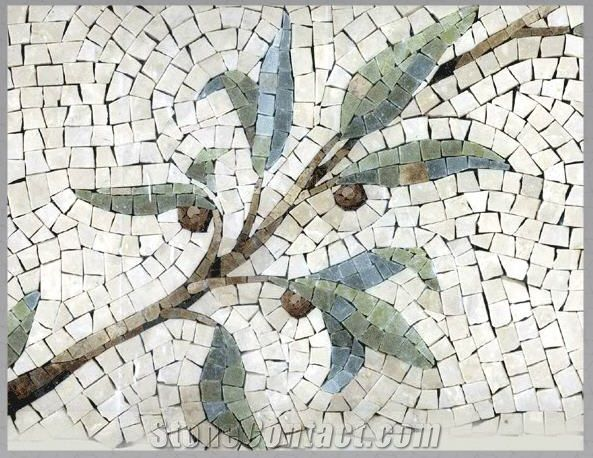 Mosaic Wall Art mosaic wall picture, white marble art works | leaf and trees