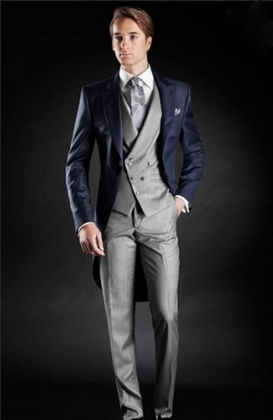 Click to Buy << Morning Style One Button Navy Blue Groom Tuxedos ...