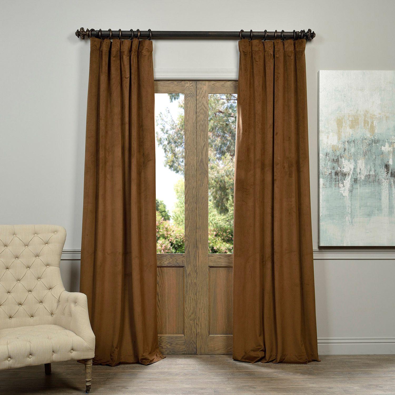 Exclusive Fabrics Signature Velvet 120 Inch Blackout Curtain Panel