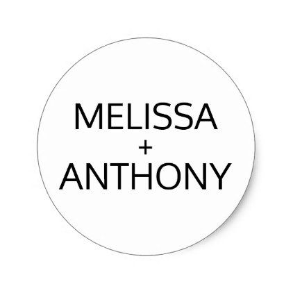 Modern Trendy Black White Wedding Monogram Seals