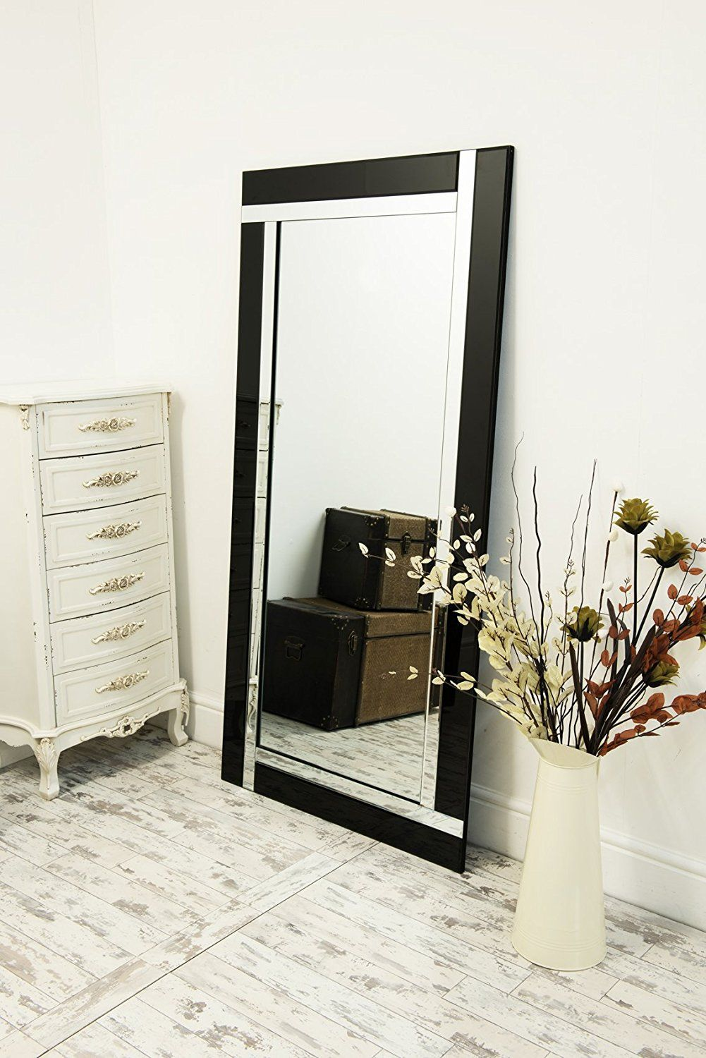 large black and silver bevelled wall mirror 5ft9 x 2ft9 on wall mirrors id=91721