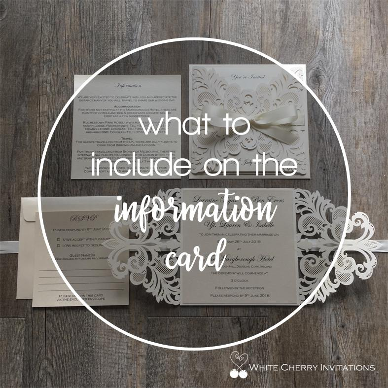 What to include on an information card Passport wedding