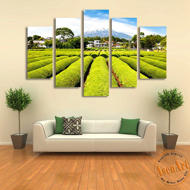 5 Panel Wall Art Snow Mountain Tea Garden Japan Landscape Painting ...