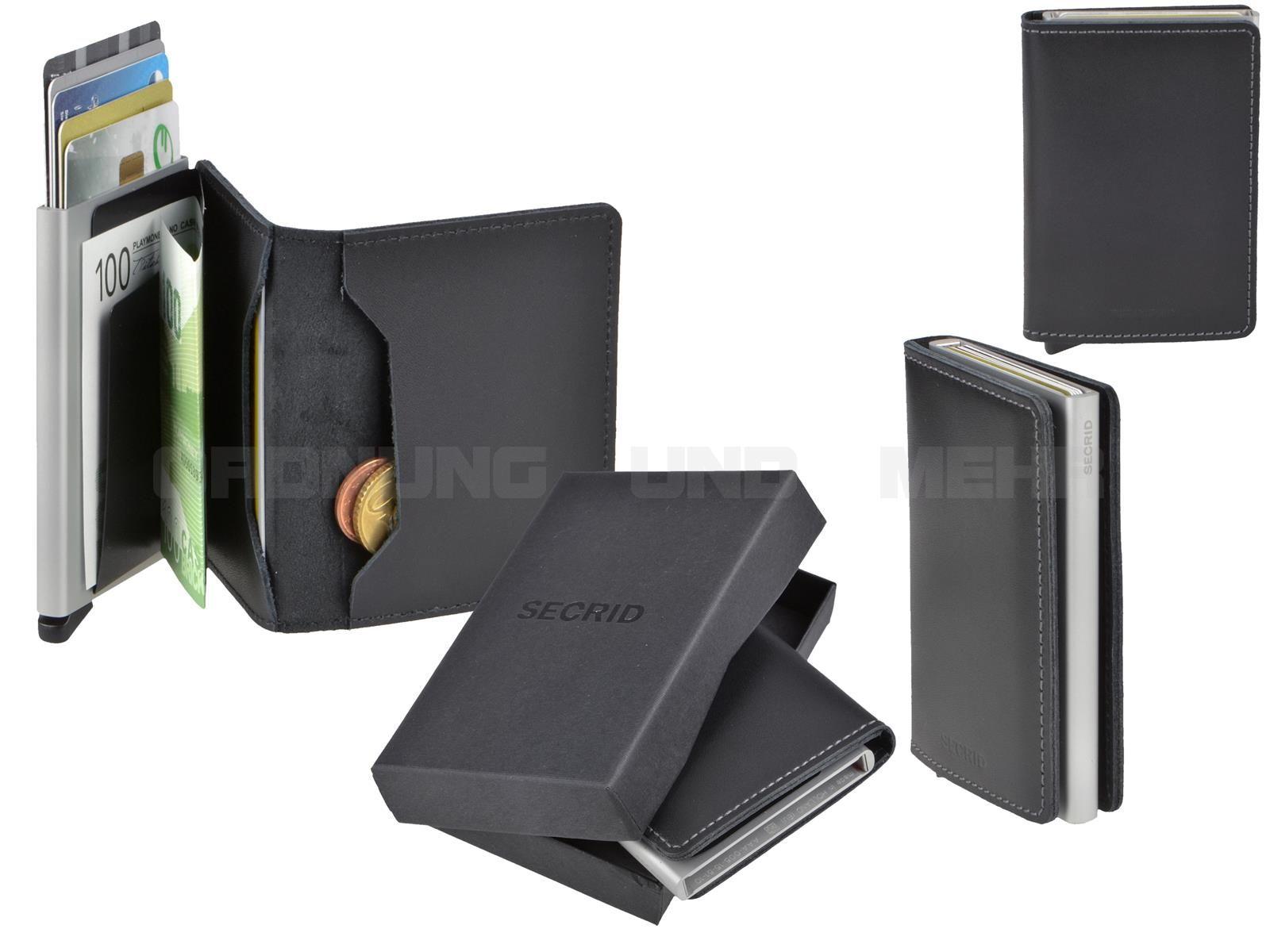 DE Kartenetui Cardprotector RFID Blocking Slimwallet Minibörse Leder Aluminium