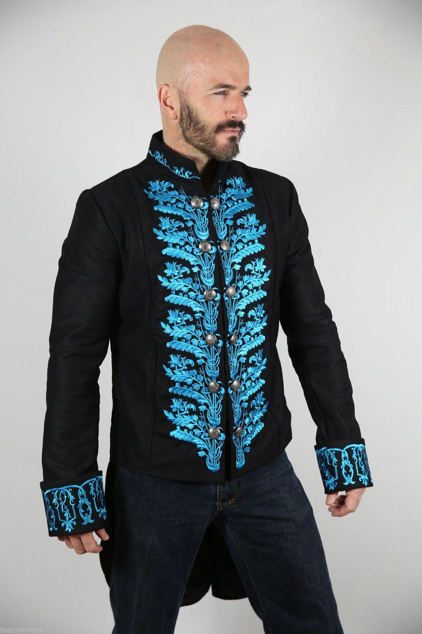 Men's Victorian Tailcoat Morning Dress Jacket Top Blue