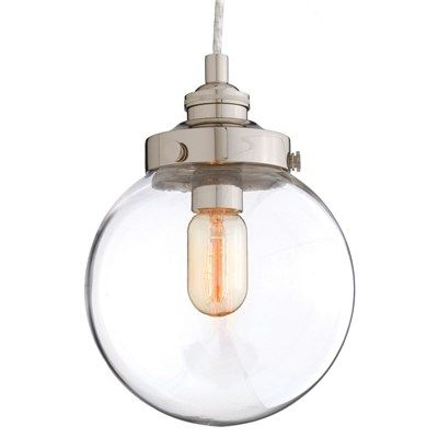 Arteriors Reeves Small Polished Nickel/Glass Pendant.