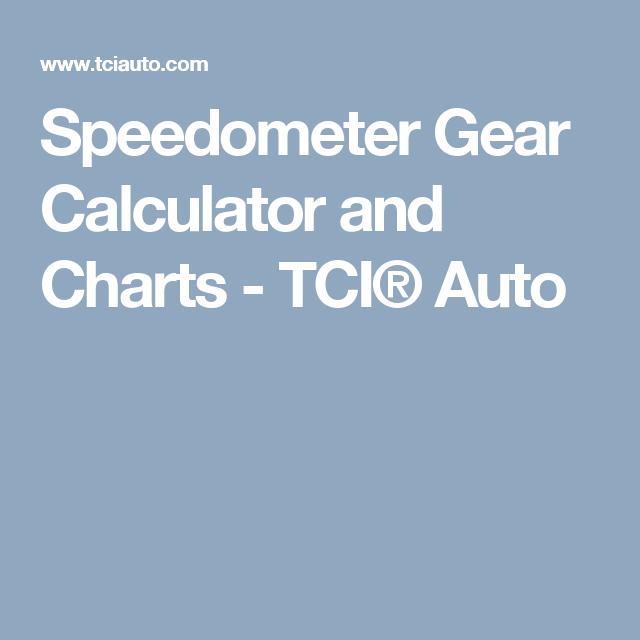 Speedometer Gear Calculator And Charts Tci Auto Calculator Automotive Mechanic Conversion Calculator