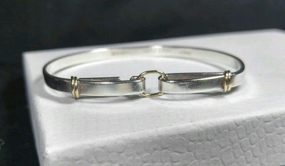 c9aeeaee0 Sterling Silver 925 & 14K Gold - TIFFANY & CO Hook & Eye - Bangle- Bracelet  6.5