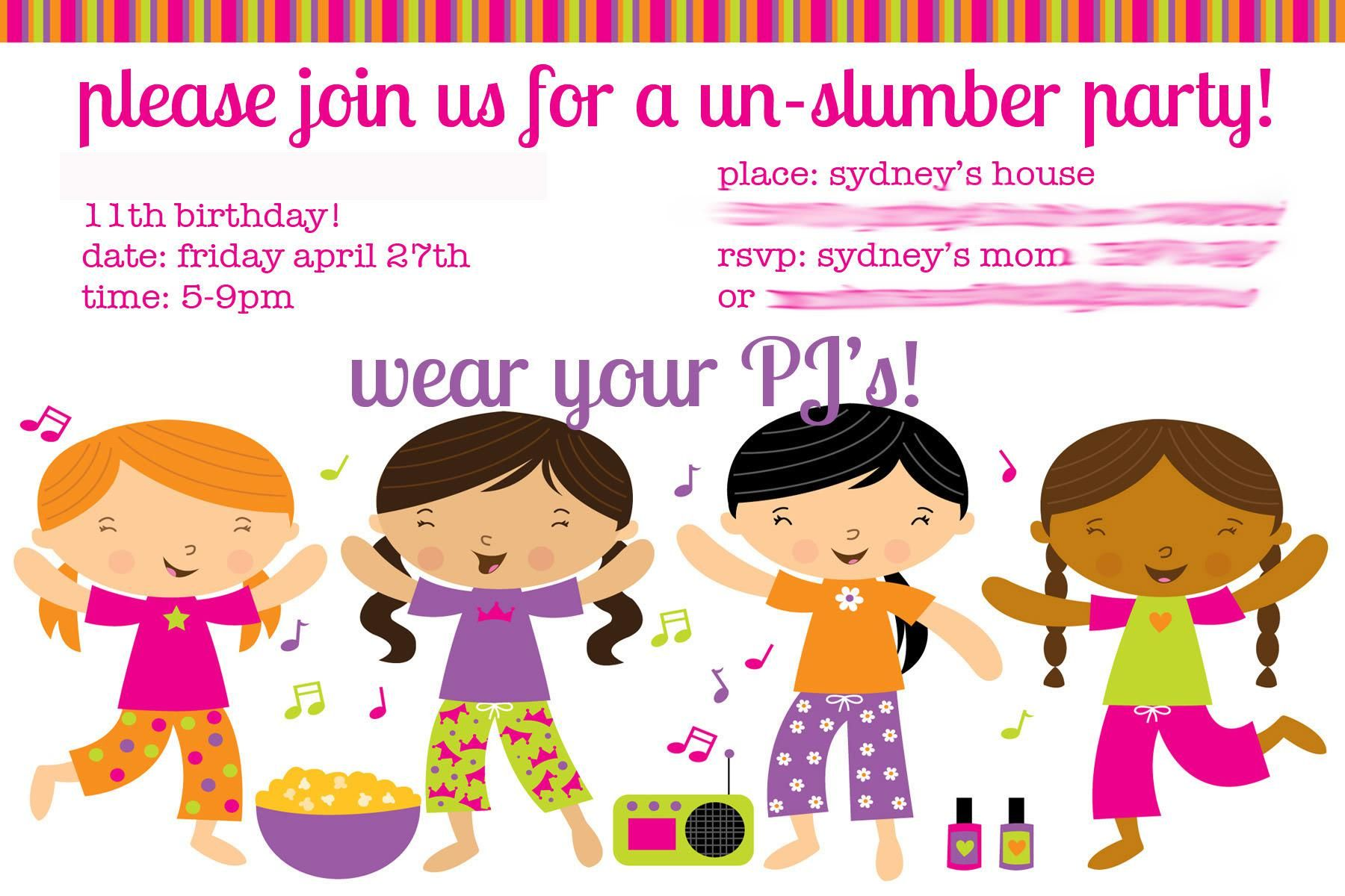 Slumber Party Invitation Designs For Girls Ideas | Princess Party ...