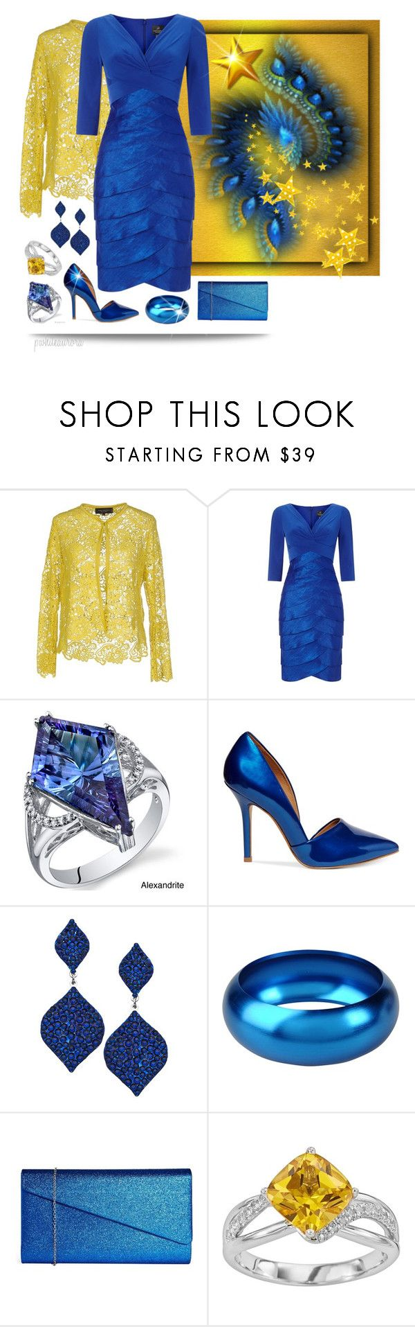 """""""Electric Blue Cocktail Dress & Goldenrod Lace Blazer"""" by pwhiteaurora ❤ liked on Polyvore featuring Anna Rachele, Adrianna Papell, Oravo, Steve Madden, Breil and Johnny Loves Rosie"""