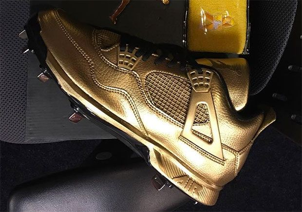 sneakers  news Gio Gonzalez Reveals Gold Air Jordan 4 Cleats For Child  Cancer Awareness Day bc989ffe8f