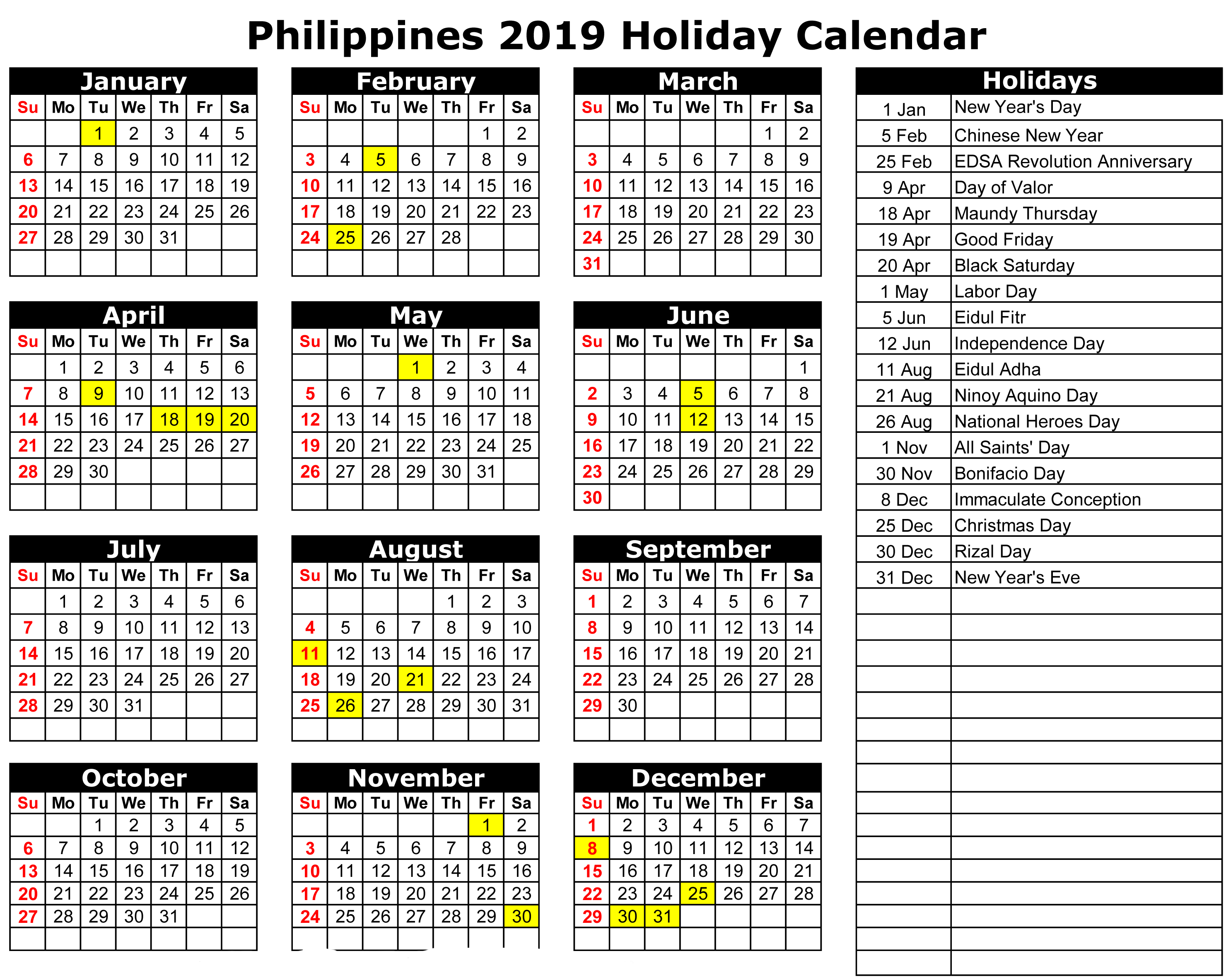Free Printable Monthly Calendar With Holidays And