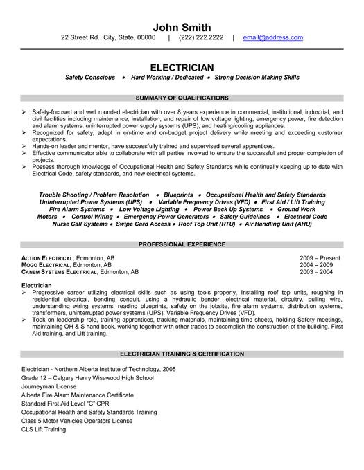 Electrician Resume Format. Maintenance Electrician Resume Template ...