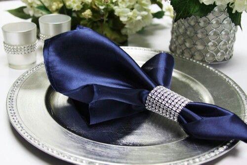 Navy Blue Napkins with napkin ring! So pretty!