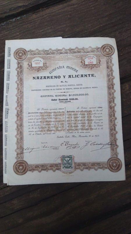 Stock\/Bond Rare Mexico 1911 Nazareno Y Alicante Mining Company - company share certificates