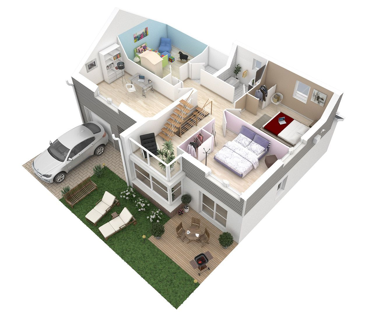 Plan Maison 60m2 Etage Plan Maison 3d Plan Maison Etage Plan Maison 120m2