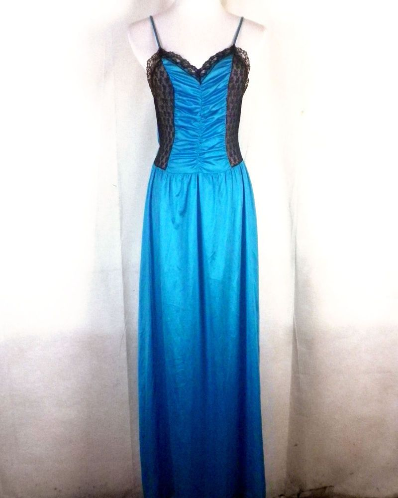 23ecc713db44 vtg 80s 90s Undercover Wear turquoise black Lace Nightgown Lingerie OLGA  full S