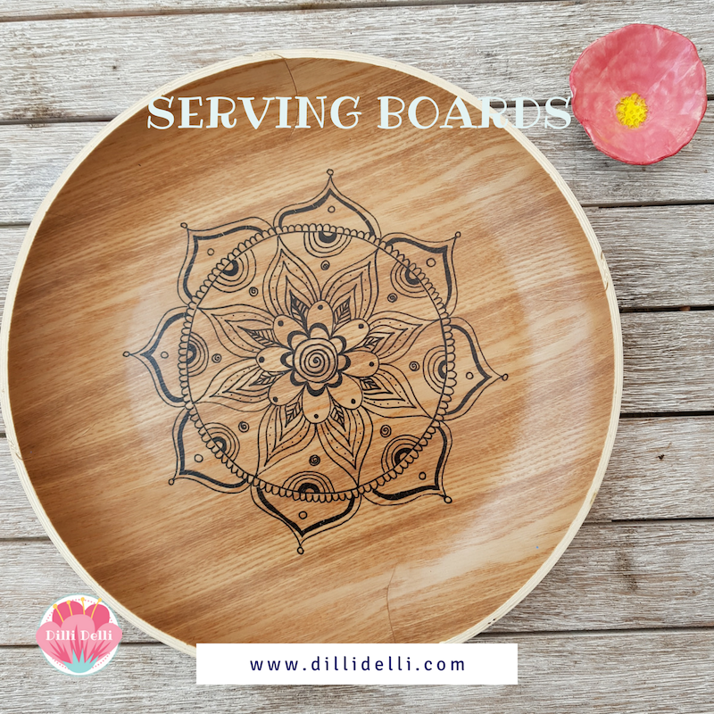 Mandala Hand Drawn Serving Tray Plywood Dilli Delli Serving