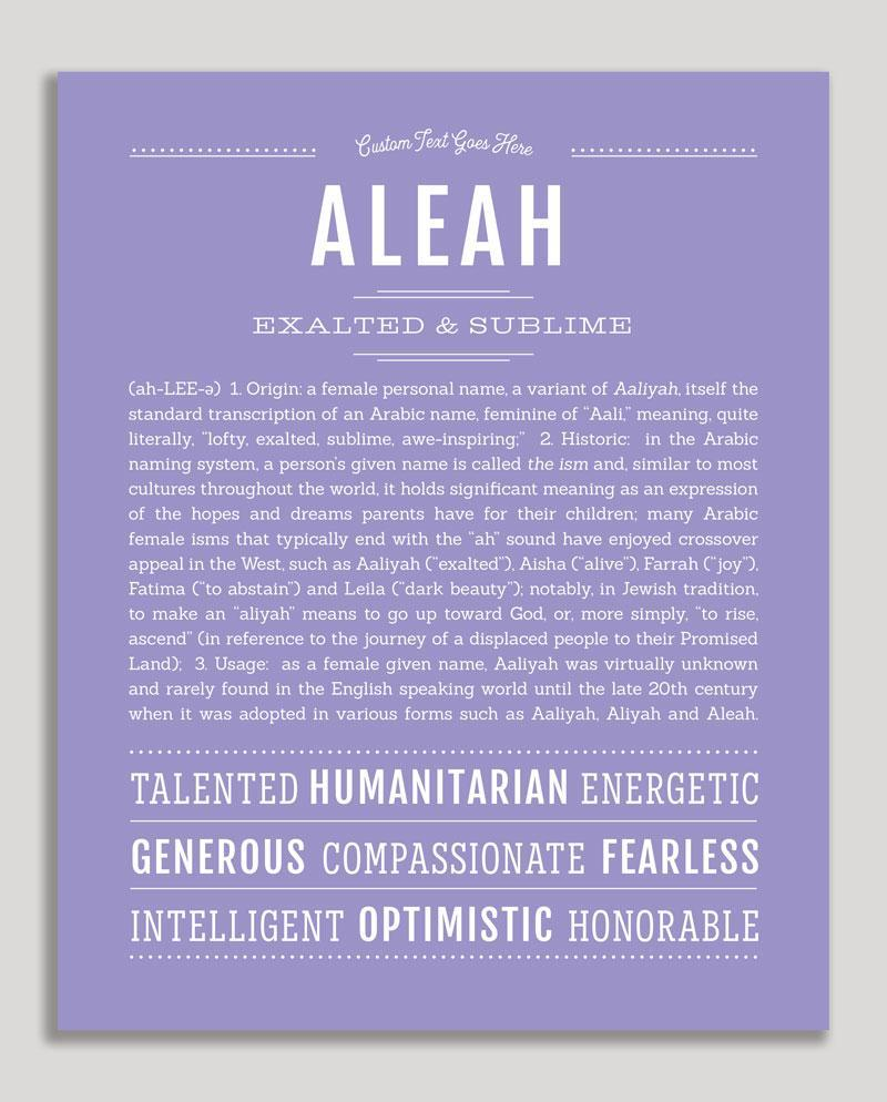 Aleah Classic Name Print Personalized Gifts Classic Names