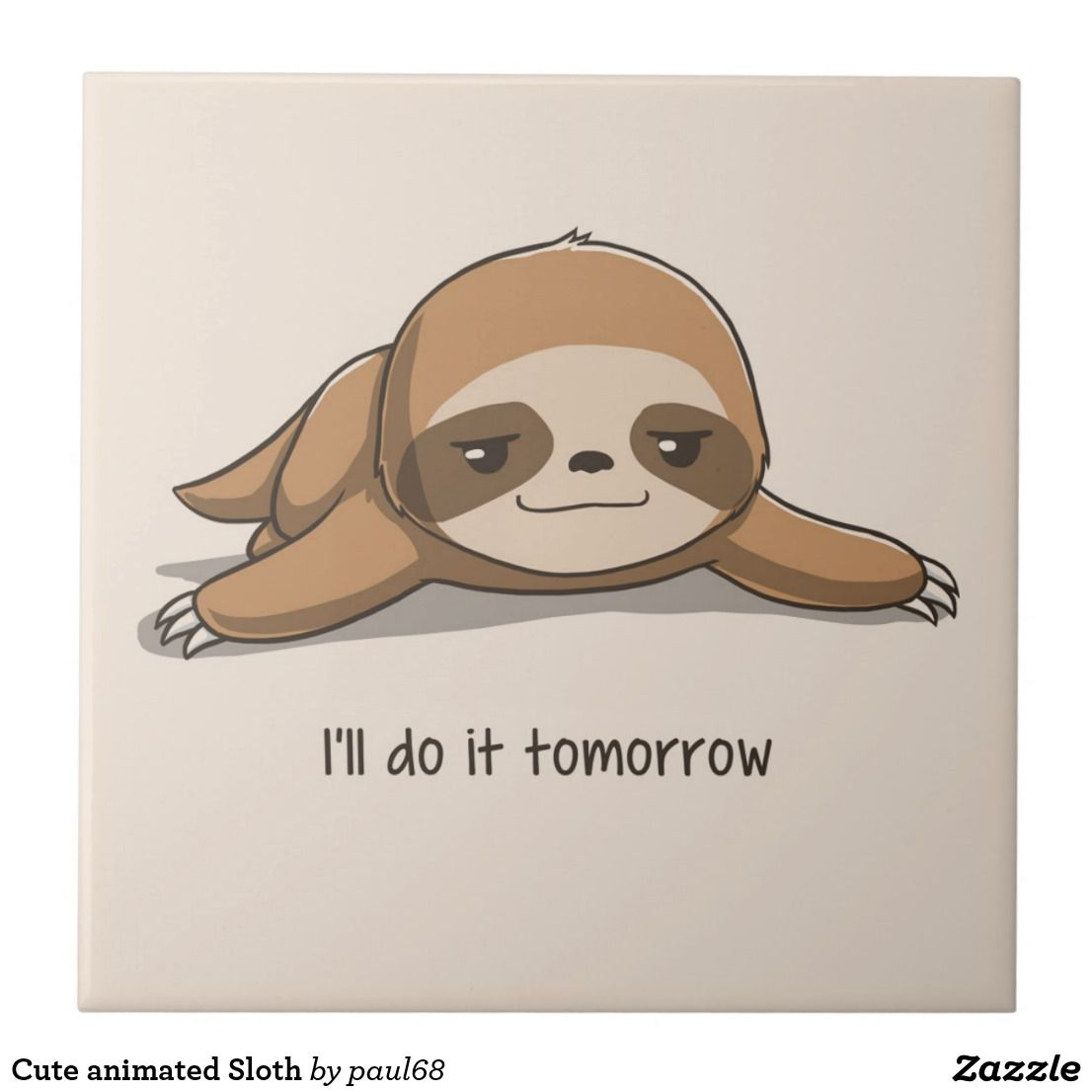 Cute Animated Sloth Ceramic Tile Zazzle Com Cute Cartoon