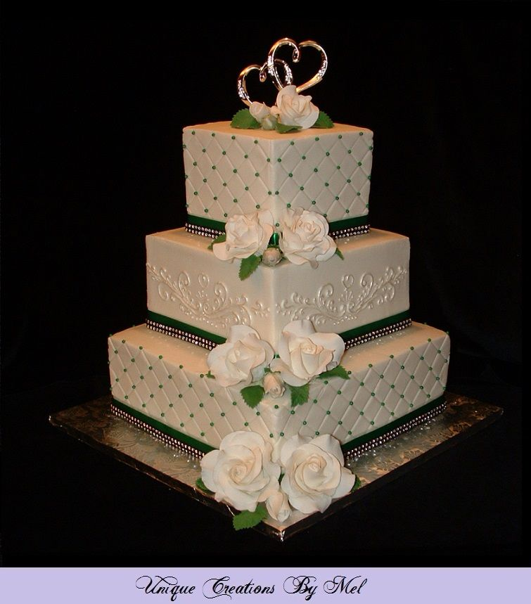 3 Tier Square Wedding Cake With Buttercream Icing White Roses