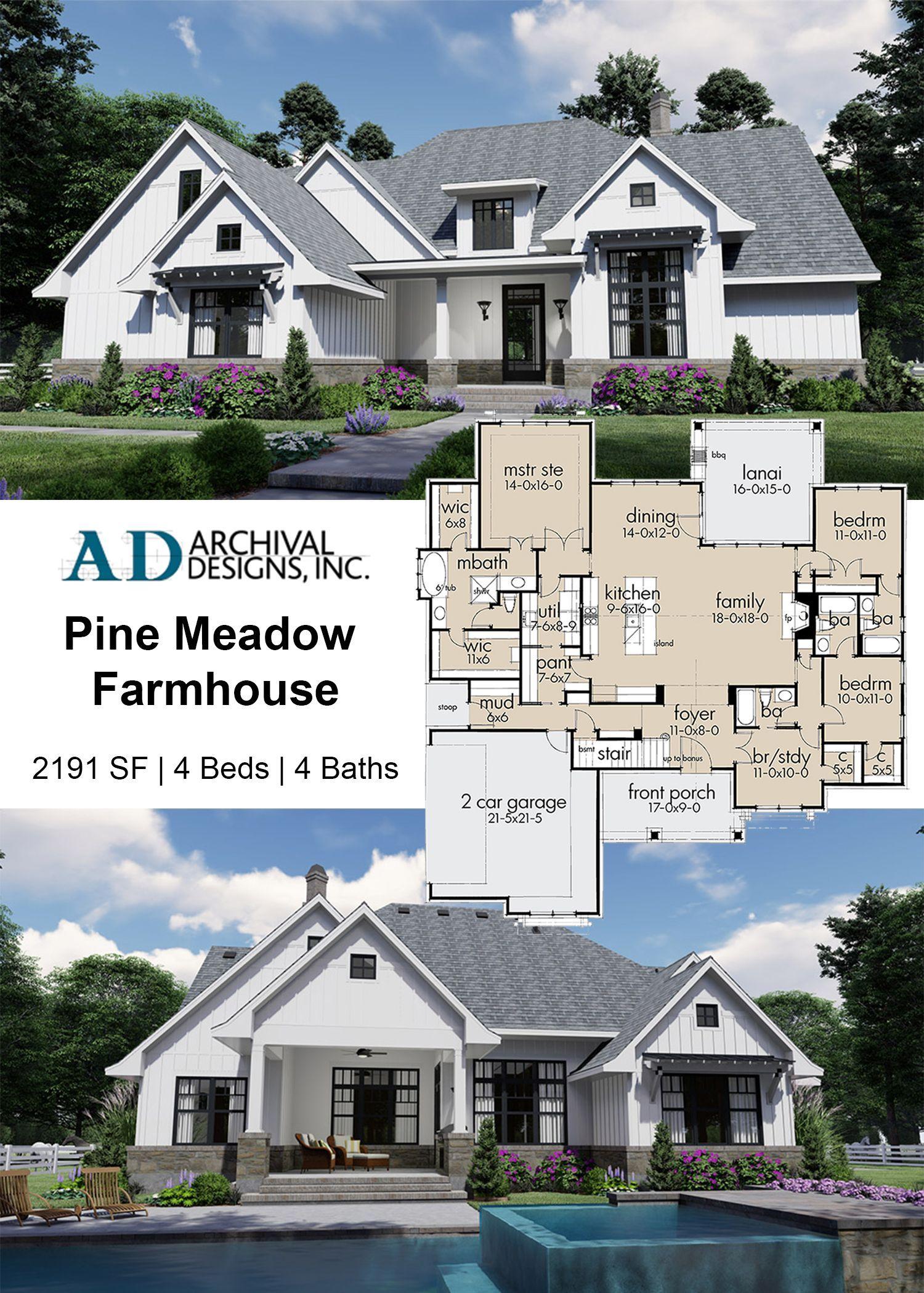Pine Meadow Farmhouse Plan In 2020 Farmhouse Plans House Plans House Plans Farmhouse