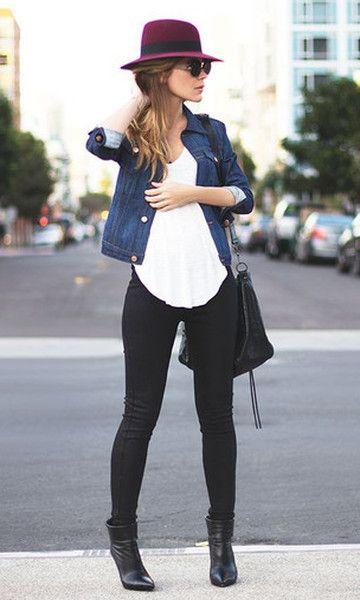 Look: Chapéu + Jaqueta Jeans