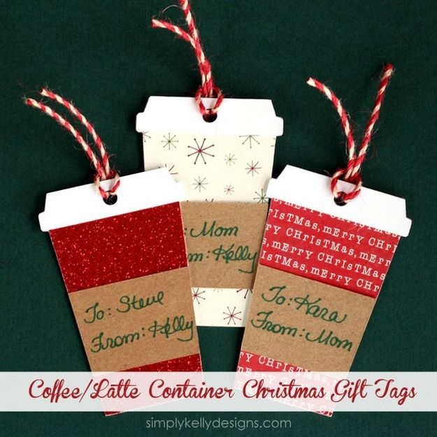 Coffee or Latte Container Christmas Gift Tags | Ideas For Fun and Creative  DIY Christmas Gift Tags - 22 Awesome DIY Christmas Gift Tags For The Gift-Giving Holiday