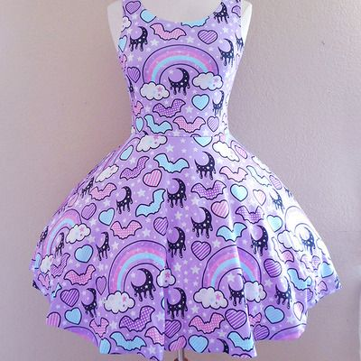 ☆ rainbow spooky bats ☆ purple skater dress made to order ✧ pastel goth ✧ creepy cute