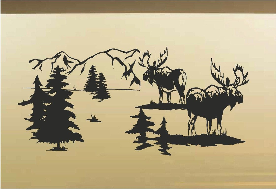 Moose Animal Vinyl Wall Art Decal Rustic Cabin Lodge Mountains ...