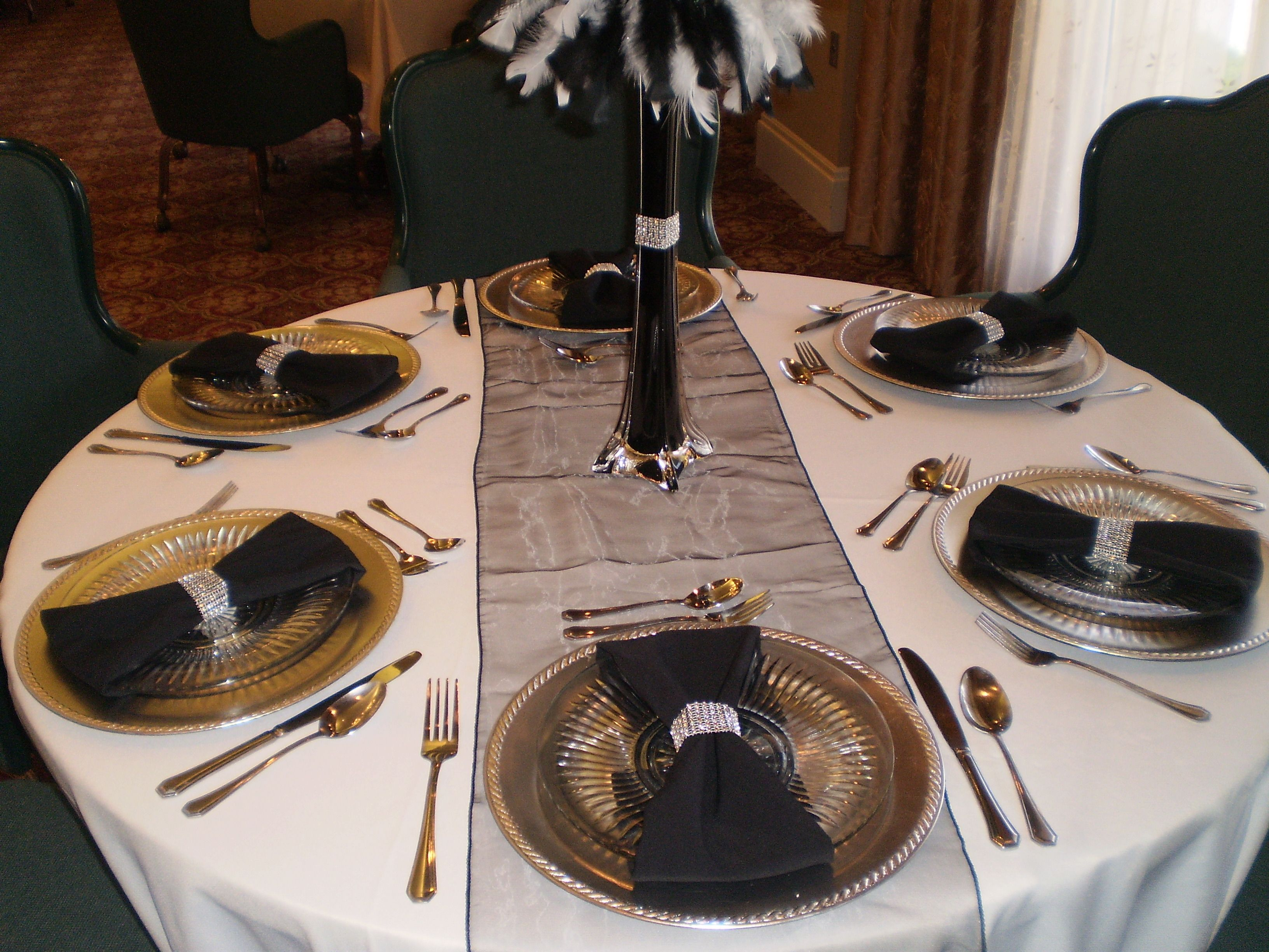Black u0026 Silver table settings. Eiffel tower vase with feathers u0026 a table runner pull this look together. & Black u0026 Silver table settings. Eiffel tower vase with feathers u0026 a ...