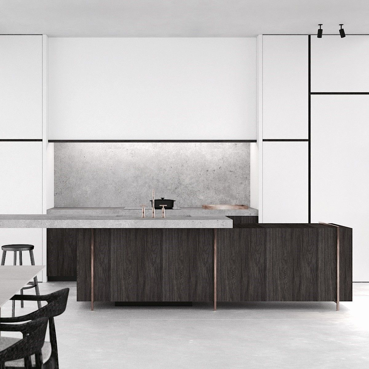 Minimalistic Modern Luxury Kitchen Island Design With: PS Extension In Spiere-Helkijn Belgium By AD