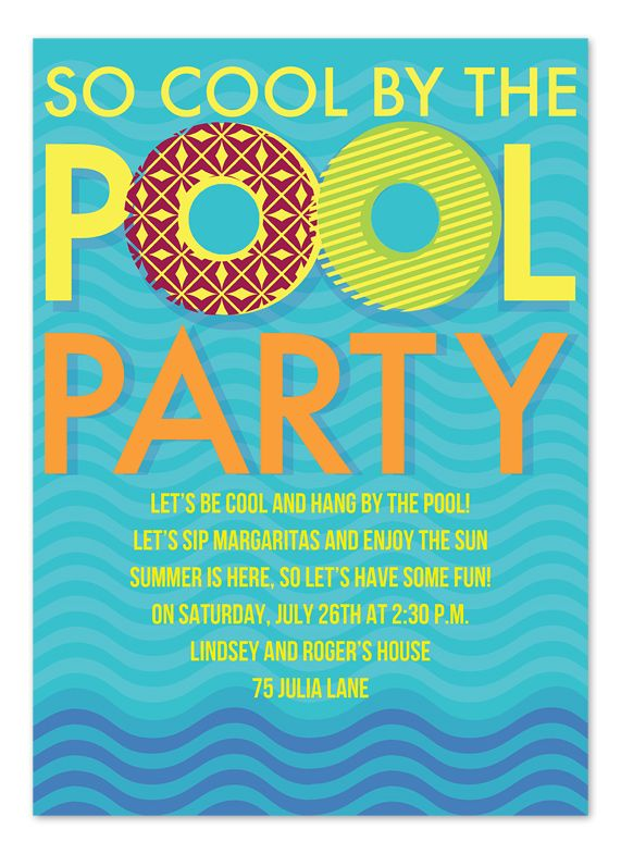 So Cool By The Pool Party Invitations  Splish Splash