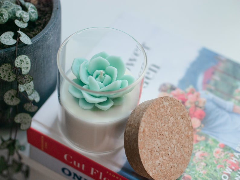 Succulent Soy Candle Room Decor for Cactus and Succulent