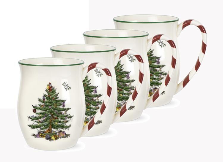 Spode Christmas Tree Candy Cane Mugs Set of 4