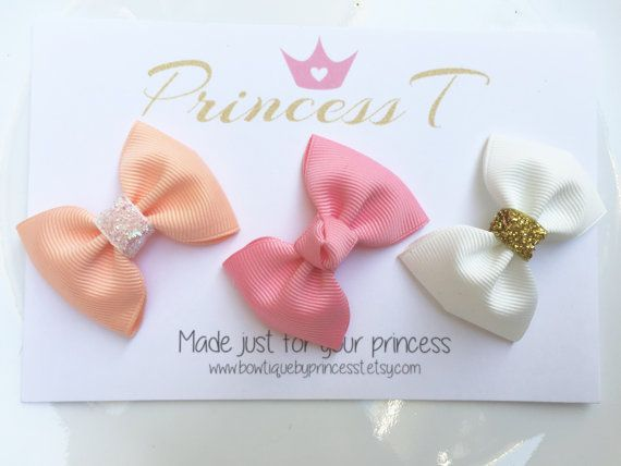 Girls/Baby Hair Clip Set White/ Rose Pink/ by BowtiquebyprincessT #babyhairaccessories