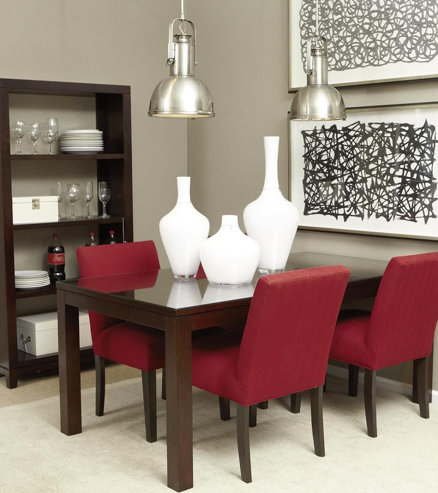 Casual Modern Dining Room: Red Interiors. Red Ethan Allen Dining Room Idea. Ethan