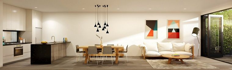 cocina abierta salon moderno cuadros decorativos ideas