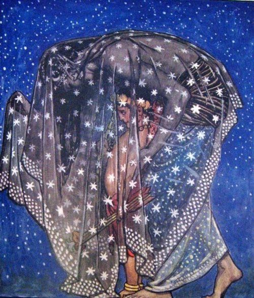 Nuit. Egyptian sky goddess. Leans over her husband/brother, Geb, the Egyptian Earth God. Usually depicted as a naked woman covered with stars and is arching on all fours over Geb. Represents the All, pure potentiality, both as it flowers into the physical universe and as it resides beyond embodiment.