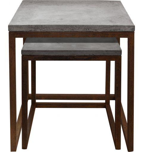 Tempo Concrete Side Tables Set Of Dark Grey Concrete - Industrial concrete side table