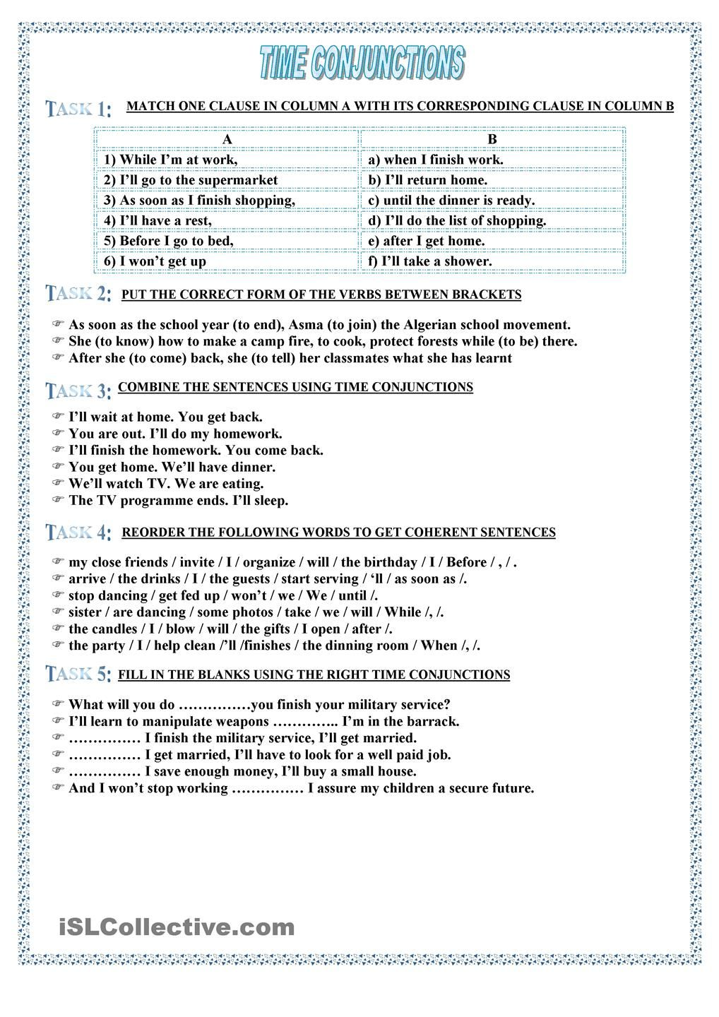 small resolution of time conjunctions   Conjunctions worksheet